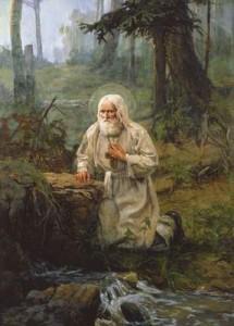 Преподобный Серафим Саровский  в своей пустыньке на молитве